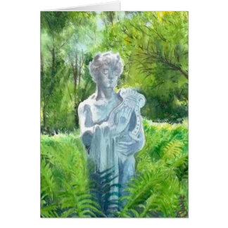 una estatua en la casa con cochera -4 de los tarjeta de felicitación
