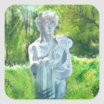 una estatua en la casa con cochera -4 de los welle calcomanías cuadradas