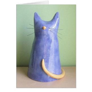 Una estatuilla artsy del gato azul tarjeton