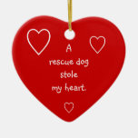 Una estola del perro del rescate mi ornamento del adorno navideño de cerámica en forma de corazón