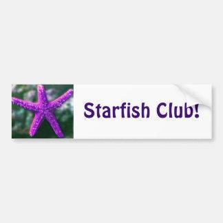 Una estrella de mar púrpura etiqueta de parachoque