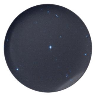 Una estrella que apresura se coge en la cámara de  plato de comida
