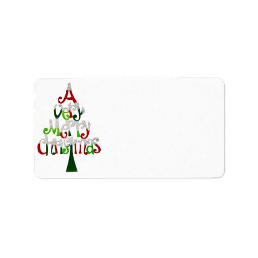 Una etiqueta de dirección de las Felices Navidad m