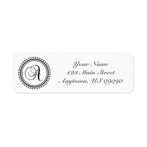 Una etiqueta de dirección de Mongram del círculo d