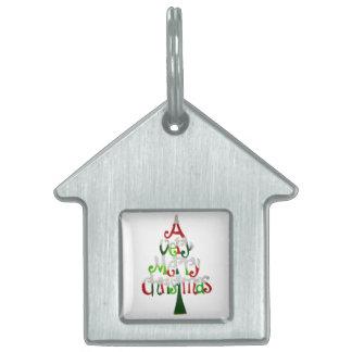 Una etiqueta del mascota de las Felices Navidad mu Placa De Nombre De Mascota