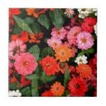 Una exhibición colorida e imponente de flores tejas  cerámicas