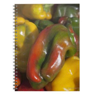 una exhibición de las pimientas coloridas para la cuaderno