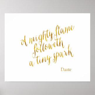 Una falsa plantilla de la hoja de oro de la llama póster