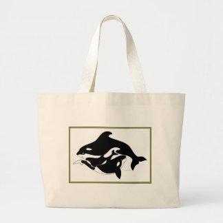Una familia de la ballena bolsas lienzo