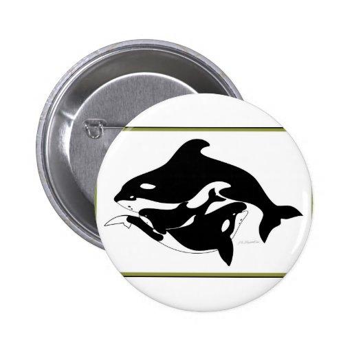 Una familia de la ballena pin redondo 5 cm