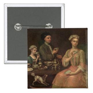 Una familia de tres en el té, c.1727 pin cuadrada 5 cm