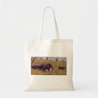 Una familia del elefante bolsa tela barata