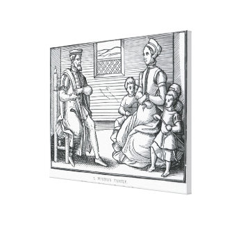 Una familia del puritano impresion de lienzo