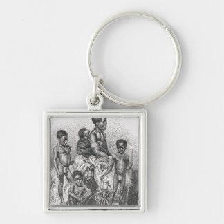 Una familia del Zulú de la historia de la humanida Llavero Cuadrado Plateado