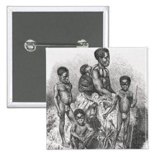 Una familia del Zulú de la historia de la humanida Pin Cuadrado