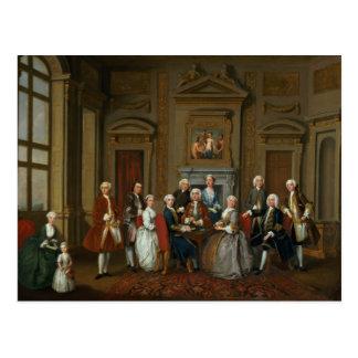 Una familia en un interior de Palladian, 1740 Tarjetas Postales