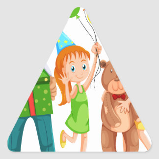 Una familia feliz que celebra un cumpleaños pegatina triangular