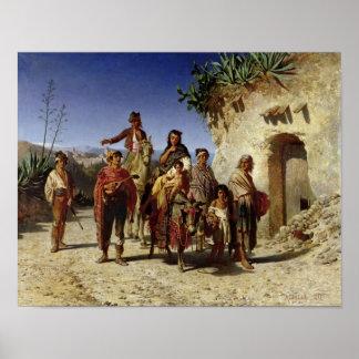 Una familia gitana en el camino c 1861 impresiones