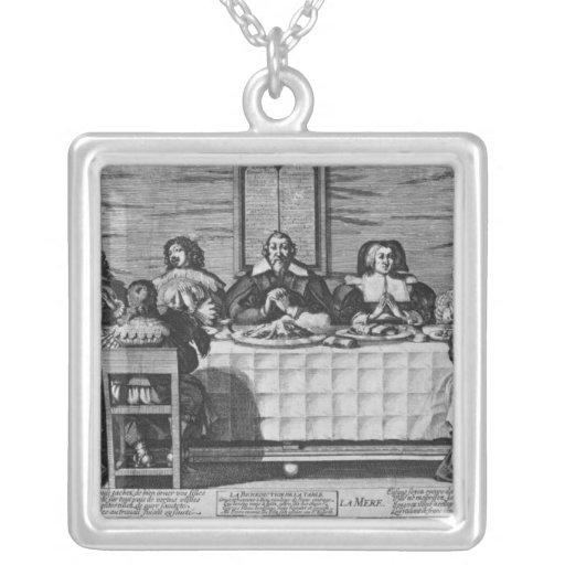 Una familia protestante que bendice la comida colgantes
