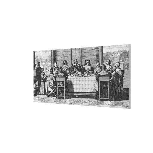 Una familia protestante que bendice la comida impresiones de lienzo