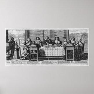 Una familia protestante que bendice la comida posters
