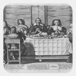 Una familia protestante que bendice la comida calcomanías cuadradass personalizadas