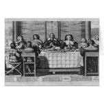 Una familia protestante que bendice la comida tarjeta de felicitación