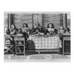 Una familia protestante que bendice la comida tarjeta postal