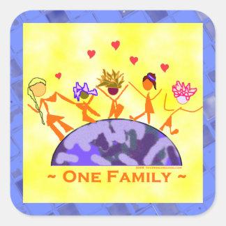 Una familia - tierra pegatina cuadrada