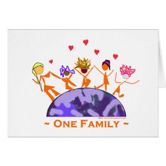 Una familia - tierra tarjeta de felicitación
