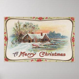 Una feliz escena del país de ChristmasA Póster