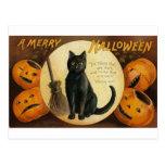 Una feliz tarjeta del gato de Halloween Postal