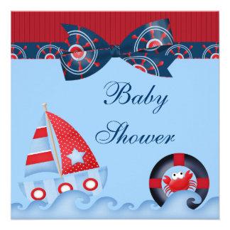 Una fiesta de bienvenida al bebé de la vida marina invitación personalizada