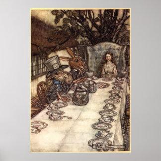 Una fiesta del té enojada de Arturo Rackham Póster