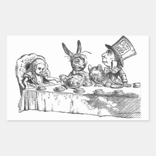 Una fiesta del té enojada rectangular pegatinas