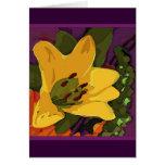 Una flor amarilla para la mamá tarjeta