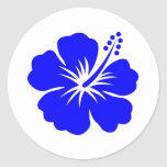Una flor azul del hibisco etiqueta