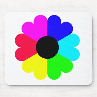 Una flor de Clipart de siete colores Alfombrillas De Raton