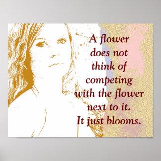 Una flor florece - impresión del arte póster