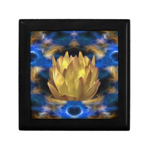 Una flor y reflexiones de loto del oro caja de joyas