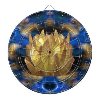 Una flor y reflexiones de loto del oro tablero de dardos
