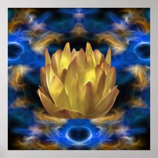 Una flor y reflexiones de loto del oro póster