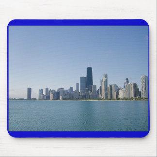 Una foto azul más profunda del horizonte de Chicag Mousepads