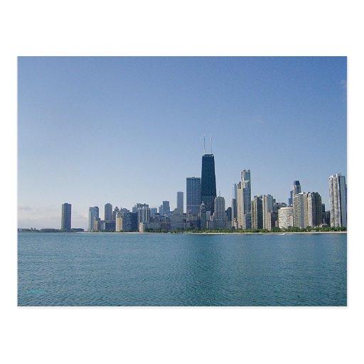 Una foto azul más profunda del horizonte de Chicag Postal