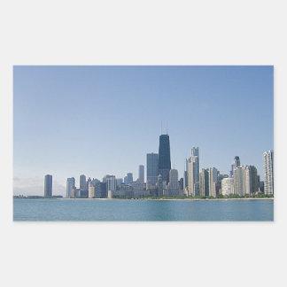 Una foto azul más profunda del horizonte de pegatina rectangular