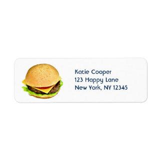 Una foto jugosa grande del cheeseburger etiqueta de remite