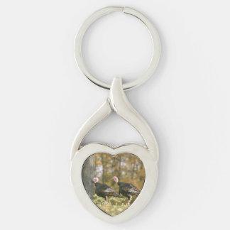 Una fotografía hembra-varón de los pares de llavero plateado en forma de corazón