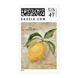 Una fruta amarilla del limón sello