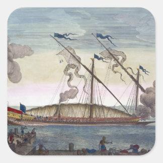 Una galera real (española o portuguesa) remó por pegatina cuadrada