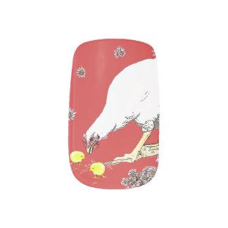 Una gallina y polluelos pegatinas para manicura